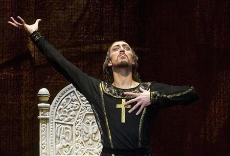 Bolshoi Theatre ballet dancer Pavel Dmitrichenko performs during the media preview of ''Ivan The Terrible'' ballet at the Bolshoi Theatre in Moscow, in this picture taken November 4, 2012. REUTERS/Anton Tarasov