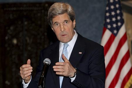 U.S. Secretary of State John Kerry speaks during a joint news conference with Qatar's Prime Minister and Foreign Minister Sheikh Hamad bin Jassim bin al-Thani in Doha March 5, 2013. REUTERS/Stringer