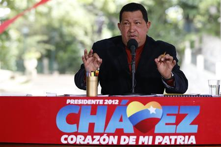 Venezuelan president and presidential candidate Hugo Chavez speaks during a news conference in Caracas September 5, 2012. REUTERS/Jorge Silva
