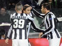 Alessandro Matri (C) comemora gol da Juventus diante do Celtic em jogo da Liga dos Campeões nesta quarta-feira. REUTERS/Giorgio Perottino