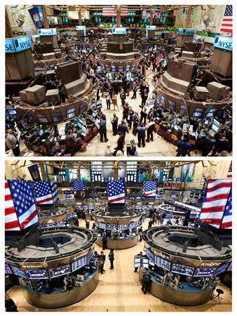 A combination photograph shows (top) a general view of the main trading floor of the New York Stock Exchange during the closing moments of the trading session in this February 27, 2007 file photo; and (bottom) the same vantage point ahead of the closing moments about on March 5, 2013. REUTERS/Mike Segar (top), Brendan McDermid