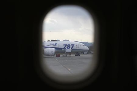 All Nippon Airways' (ANA) Boeing Co's 787 Dreamliner plane which made an emergency landing on last Wednesday, is seen through a window of the ANA's Airbus A320 jet, at Takamatsu airport in Takamatsu, western Japan January 19, 2013. REUTERS/Issei Kato