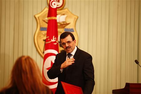 Tunisia's prime minister-designate Ali Larayedh gestures after a news conference in Tunis February 22, 2013. REUTERS/Zoubeir Souissi