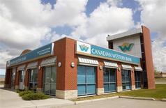 A Canadian Western Bank branch is seen in Calgary, Alberta June 9, 2009. REUTERS/Todd Korol