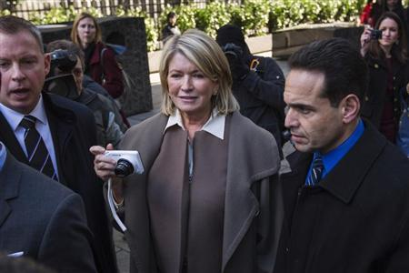 Martha Stewart holds a camera as she departs the New York state Supreme Court after testifying in Manhattan March 5, 2013. Stewart was questioned in a New York state court on Tuesday over the terms of her contract with Macy's, which the retailer says she broke when she tried to sell cookware and other goods at rival J.C. Penney stores. REUTERS/Lucas Jackson