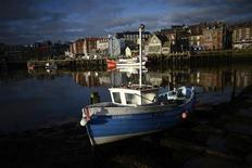 Small fishing boats dry out in the morning sun by the quayside in Whitby, northern England February 27, 2013. REUTERS/Dylan Martinez