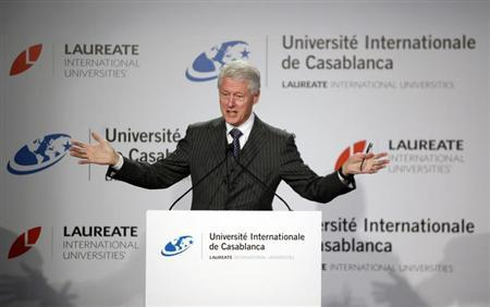 Former U.S. President Bill Clinton speaks during a news conference at the international university in Casablanca February 24, 2013 REUTERS/Stringer