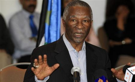 Former South African President Thabo Mbeki speaks during a meeting between Sudanese Defence Minister Abdelrahim Mohamed Hussein and his South Sudan counterpart John Kong Nyuon in Ethiopia's capital Addis Ababa, March 8, 2013. REUTERS/Tiksa Negeri