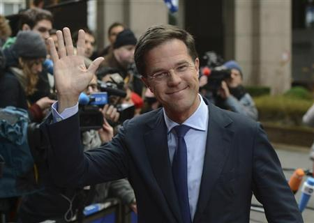 The Netherlands' Prime Minister Mark Rutte arrives at the EU council headquarters for an European Union leaders summit meeting to discuss the European Union's long-term budget in Brussels February 7, 2013. REUTERS/Laurent Dubrule