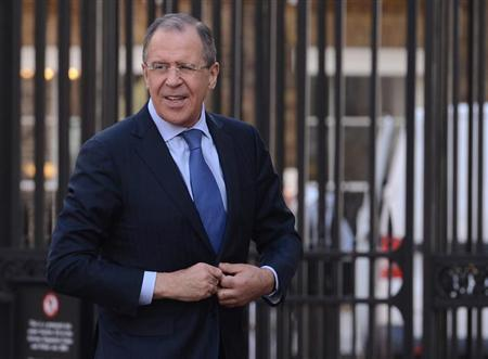 Russia's Foreign Minister Sergei Lavrov arrives at Lancaster House in central London March 13, 2013. REUTERS/Stefan Rousseau/Pool
