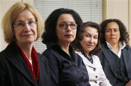 (L-R) Catherine Lutz, professor at Brown University's Institute for International Studies, Jessica Stern, fellow at the Hoover Institution, Linda J. Bilmes, professor at Harvard University's Kennedy School, and Neta Crawford, professor of political science at Boston University, pose for a photograph in Boston, Massachusetts March 12, 2013. REUTERS/Brian Snyder