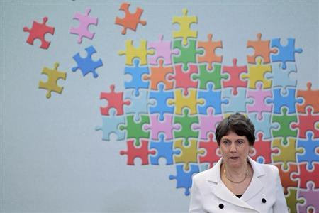 UN Development Programme (UNDP) Administrator Helen Clark speaks during a ceremony for the MDG Brazil Award at Planalto Palace, May 30, 2012. REUTERS/Ueslei Marcelino