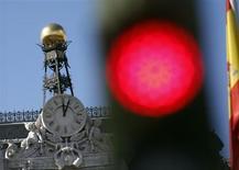 Siège de la banque d'Espagne, à Madrid. La dette du secteur public espagnol représentait 84,1% du PIB fin 2012, un pourcentage sans précédent depuis que la statistique est compilée, soit depuis 1999. /Photo prise le 24 septembre 2012/REUTERS/Sergio Perez