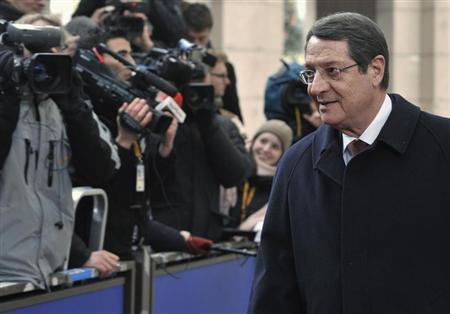 Cyprus' President Nicos Anastasiades arrives at a European Union leaders summit in Brussels March 14, 2013. REUTERS/Eric Vidal