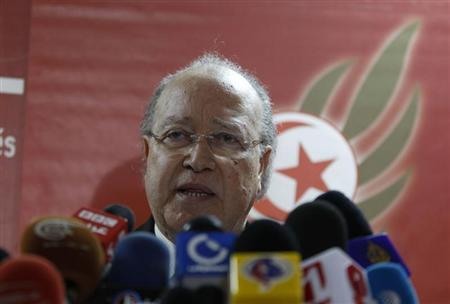 Mustafa Ben Jaafar, the secretary-general of Tunisia's leftist liberal Ettakatol party and president of Tunisia's National Constituent Assembly, speaks during a news conference in Tunis February 12, 2013. REUTERS/Zoubeir Souissi