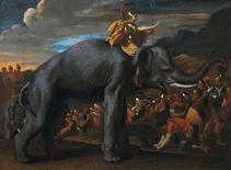 """""""Hannibal Crossing the Alps on an Elephant"""", a painting by Nicolas Poussin, is seen in this undated handout picture provided by Christie's in London March 15, 2013. REUTERS/Christie's Images/Handout"""