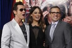 """Cast members Jim Carrey (L), Olivia Wilde and Steve Carell pose at the premiere of """"The Incredible Burt Wonderstone"""" in Hollywood, California March 11, 2013. REUTERS/Mario Anzuoni"""
