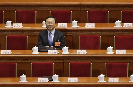 Outgoing Chinese Foreign Minister Yang Jiechi sits in the Great Hall of the People, ahead of the fifth plenary meeting of National People's Congress (NPC), in Beijing, March 15, 2013. REUTERS/Jason Lee