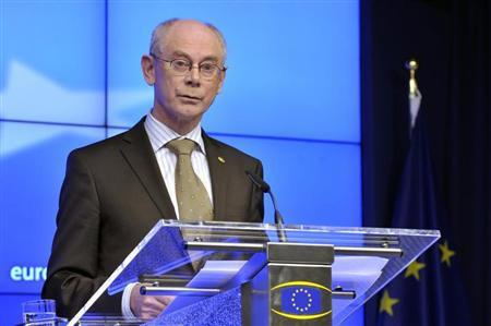European Council President Herman Van Rompuy holds a news conference during a European Union leaders meeting in Brussels March 14, 2013. REUTERS/Eric Vidal