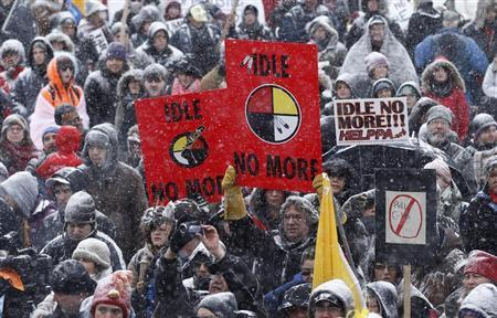 First Nations protestors take part in an ''Idle No More'' demonstration on Parliament Hill in Ottawa January 28, 2013. REUTERS/Chris Wattie