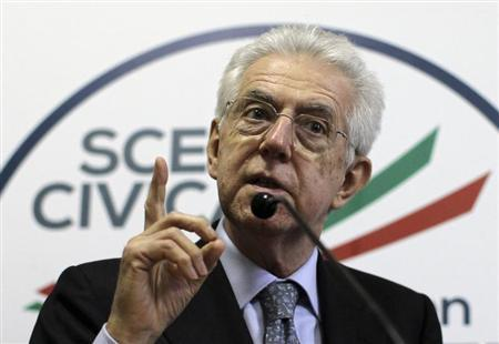 Italy's outgoing Prime Minister and leader of a coalition of centre parties Mario Monti (L) gestures as he speaks during a news conference in Rome March 6, 2013. REUTERS/Alessandro Bianchi