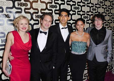 Cast members of the TV series ''The Newsroom'' (L-R) Alison Pill, Thomas Sadoski, Dev Patel, Olivia Munn and John Gallagher Jr. arrive at the HBO after party after the 70th annual Golden Globe Awards in Beverly Hills, California January 13, 2013. REUTERS/Gus Ruelas