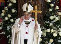 Pope Francis takes part in his inaugural mass in Saint Peter's Square at the Vatican, March 19, 2013. REUTERS/Paul Hanna