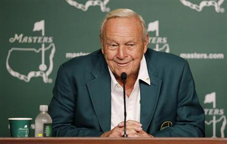 Honorary starter Arnold Palmer attends a press conference during the ceremonial tee-off before first round play in the 2012 Masters Golf Tournament at the Augusta National Golf Club in Augusta, Georgia, April 5, 2012. REUTERS/Mark Blinch