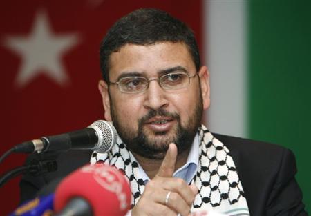 Sami Abu-Zuhri, a spokesman for the Islamist Palestinian movement Hamas, addresses a news conference in Istanbul January 17, 2009. REUTERS/Osman Orsal