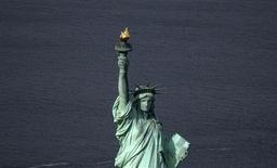 The Statue of Liberty is seen from this aerial view after Liberty Island was hit by Hurricane Sandy October 31, 2012. REUTERS/Adrees Latif