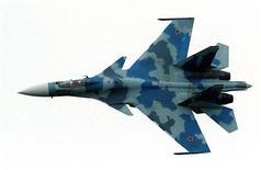 Un avion de chasse russe Sukhoi-35. La Chine souhaite se procurer auprès de la Russie des chasseurs et des sous-marins dans le cadre d'un contrat d'armement d'un montant de 3,5 milliards de dollars. /Photo d'archives/REUTERS/Pascal Rossignol