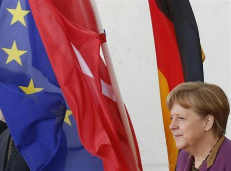 German Chancellor Angela Merkel arrives for a meeting with Tunisian's President Moncef Marzouki in Berlin March 22, 2013. REUTERS/Tobias Schwarz