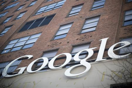 The Google signage is seen at the company's headquarters in New York January 8, 2013. REUTERS/Andrew Kelly