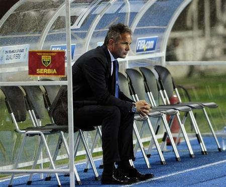 Serbia's coach Sinisa Mihajlovic waits before their World Cup 2014 qualifying match against Macedonia in Skopje October 16, 2012. REUTERS/Ognen Teofilovski