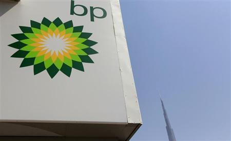 A British Petroleum (BP) logo is seen at a petrol station near the Burj Khalifa in Dubai August 29, 2012. REUTERS/Jumana ElHeloueh