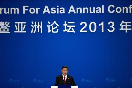 China's President Xi Jinping delivers a speech at the opening ceremony of the annual Boao Forum in Boao, in southern China's Hainan province April 7, 2013. REUTERS/Alexander F. Yuan/Pool