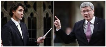Combination photo of Liberal Member of Parliament and Liberal leadership contender Justin Trudeau (L) in the House of Commons in Ottawa October 17, 2012 and Canadian Prime Minister Stephen Harper, in the House March 19, 2013. REUTERS/Chris Wattie/Files