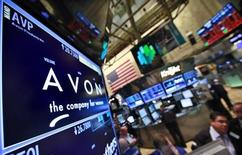 A screen displays the price for Avon Products Inc. at the post that trades the stock on the floor of the New York Stock Exchange, May 15, 2012. REUTERS/Brendan McDermid
