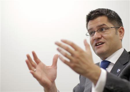The president of the United Nations General Assembly, Vuk Jeremic of Serbia, speaks during an interview at the United Nations Headquarters in New York, October 19, 2012. REUTERS/Brendan McDermid