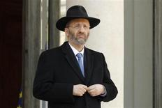 France's Grand Rabbi Gilles Bernheim leaves after a meeting between President Sarkozy (not pictured) and representative of French Jewish and Muslim communities at the Elysee Palace in Paris March 21, 2012. REUTERS/Benoit Tessier