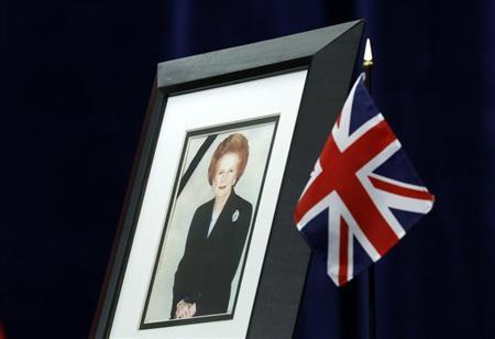 A portrait of former British prime minister Margaret Thatcher is pictured at the British High Commission in Ottawa April 9, 2013. REUTERS/Chris Wattie