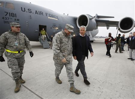 U.S. Secretary of Defense Chuck Hagel (R) walks with U.S. General Philip Breedlove, U.S. Air Force Commander for Europe, upon Hagel's arrival at Ramstein Air Base in Germany, March 11, 2013. Hagel returned to Washington from his first visit to Afghanistan as Secretary of Defense on Monday. REUTERS/Jason Reed