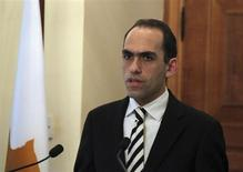 Newly-appointed Cyprus Finance Minister Harris Georgiades speaks during a ceremony at the Presidential Palace in Nicosia, Cyprus April 3, 2013. REUTERS/Andreas Manolis