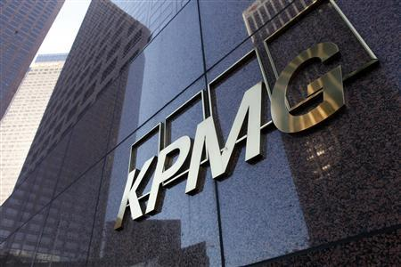 The street level sign of the KPMG buliding in downtown Los Angeles is shown April 10, 2013. REUTERS/Sam Mircovich