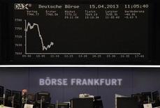 Les Bourses européennes accroissent leurs pertes en fin de matinée sur des craintes entourant la croissance mondiale après l'annonce d'une progression du PIB chinois inférieure aux attentes au premier trimestre. A 12h15, Paris recule de 1,11%, Londres de 1,29%, Francfort de 1,07%, Milan de 1,09% et Madrid de 1,11%. /Photo prise le 15 avril 2013/REUTERS/Remote/Marte Kiesling