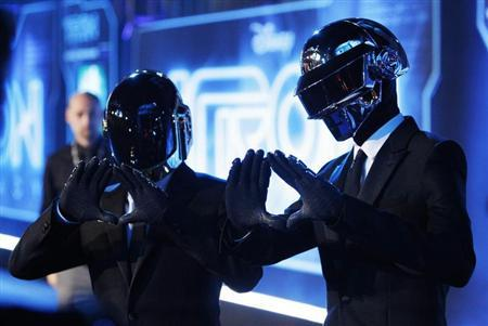 Musicians Thomas Banglater and Guy-Manuel de Homem-Christo of Daft Punk pose at the world premiere of the film ''TRON: Legacy'' in Hollywood, California, December 11, 2010. REUTERS/Danny Moloshok