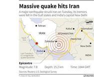 Карта подземных толчков в эпицентром в Иране, зафиксированных 16 апреля 2013 года. Пакистан сообщил о 13 погибших в своей юго-западной провинции при землетрясении во вторник. REUTERS GRAPHICS