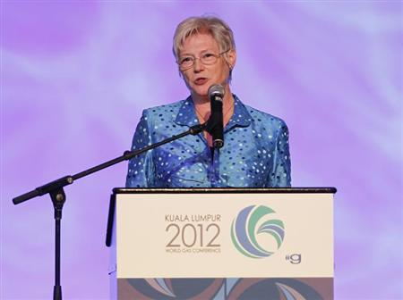 Executive Director of International Energy Agency (IEA) Maria van der Hoeven speaks during the World Gas Conference 2012 in Kuala Lumpur June 5, 2012. REUTERS/Bazuki Muhammad/Files