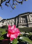Цветок распускается около здания Банка Японии в Токио, 20 декабря 2012 года. Небольшой рост японского экспорта, улучшение деловых настроений и увеличение потока инвестиций стали первыми успехами радикальной стратегии премьер-министра Синдзо Абэ, но компании все еще ждут признаков стабильного роста экономической активности. REUTERS/Kim Kyung-Hoon