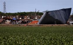 Destroyed homes are seen near the scene of a fertilizer plant explosion in the town of West, near Waco, Texas April 20, 2013. REUTERS/Adrees Latif